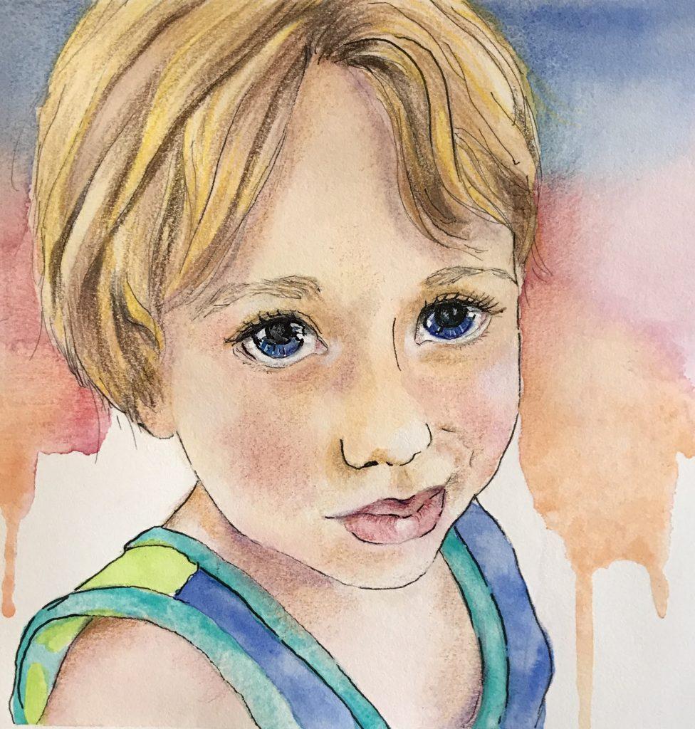 Watercolour children's portrait